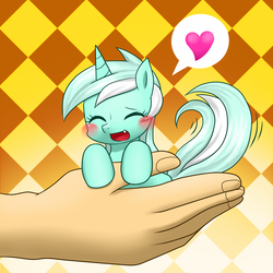 Size: 1000x1000   Tagged: safe, artist:hashioaryut, lyra heartstrings, human, pony, unicorn, blushing, cute, cute little fangs, eyes closed, fangs, female, hand, hand fetish, happy, heart, humie, in goliath's palm, lyrabetes, pixiv, solo, tail wag, that pony sure does love hands, tiny ponies