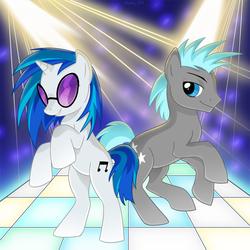 Size: 1000x1001 | Tagged: safe, artist:sharky, dj pon-3, twilight sky, vinyl scratch, earth pony, pony, unicorn, dancing, female, male, mare, stallion