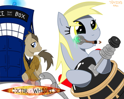 Size: 3000x2400 | Tagged: safe, artist:rockingquix, derpy hooves, doctor whooves, time turner, pegasus, pony, artifact, crossover, dalek, doctor who, female, mare, sonic screwdriver, tardis