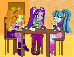 Size: 1024x785 | Tagged: safe, artist:queentigrel, adagio dazzle, aria blaze, sonata dusk, equestria girls, rainbow rocks, :t, animal crackers, breakfast, butter, buttered toast, coffee, crackers, frown, sitting, smiling, sonataco, table, taco, the dazzlings, unamused, wide eyes