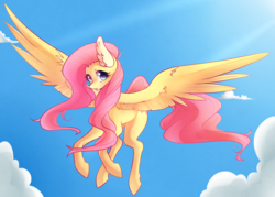 Size: 1933x1381 | Tagged: safe, artist:raponee, fluttershy, pegasus, pony, cloud, crepuscular rays, ear fluff, female, flying, looking at you, mare, sky, solo, spread wings, wings