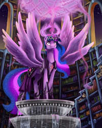 Size: 4795x6000 | Tagged: safe, artist:silfoe, twilight sparkle, alicorn, pony, seraph, seraphicorn, absurd resolution, apotheosis, armor, awesome, book, crown, element of magic, epic, ethereal mane, female, flowing mane, fountain, goddess, halo, library, magic, mare, mega evolution, multiple wings, night sky, older, runes, six wings, smiling, solo, spread wings, stars, symbols, text, this is my final form, totally legit season 5 spoilers, twilight sparkle (alicorn), ultimate twilight, wings