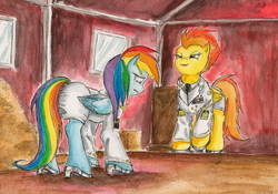 Size: 2112x1475 | Tagged: safe, artist:souleatersaku90, rainbow dash, spitfire, clothes, crying, fanfic, fanfic art, high heels, humiliation, smirk, the simple life, uniform