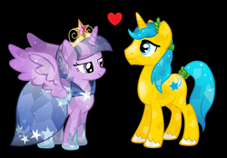 Size: 1024x711   Tagged: safe, artist:3d4d, comet tail, twilight sparkle, alicorn, crystal pony, pony, cometlight, female, heart, male, mare, shipping, straight, twilight sparkle (alicorn)