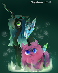 Size: 716x898 | Tagged: safe, artist:chi-hayu, queen chrysalis, oc, oc:fluffle puff, changeling, clothes, costume, female, looking at you, nightmare night