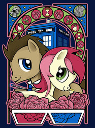 Size: 840x1125 | Tagged: safe, artist:christadoodles, doctor whooves, roseluck, time turner, breezie, cyberman, it ain't easy being breezies, 3d glasses, doctor who, doctorrose, female, male, necktie, rose, shipping, straight, tardis, weeping angel