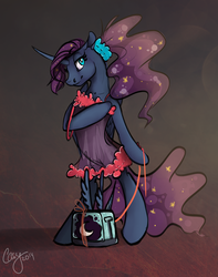 Size: 2363x3000 | Tagged: artist:casynuf, babydoll, bedroom eyes, bipedal, clothes, curved horn, leash, lingerie, luna-afterdark, lunaafterdarkafterdark, negligee, pony, ponytail, princess luna, safe, scrunchie, solo, toaster