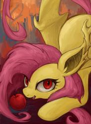 Size: 444x605   Tagged: safe, artist:kei05, fluttershy, apple, female, flutterbat, pixiv, solo