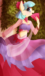 Size: 600x1011 | Tagged: safe, artist:chokico, coco pommel, earth pony, anthro, abstract background, belly button, belly dancer, choker, clothes, cocobetes, cute, fan, featured image, female, looking at you, midriff, open mouth, skirt, smiling, solo