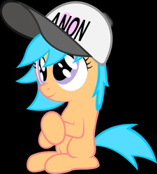 Size: 1352x1500 | Tagged: source needed, safe, artist:anonymous, oc, oc only, oc:little league, earth pony, pony, /mlp/, 4chan, blank flank, female, filly, hat, heart, solo