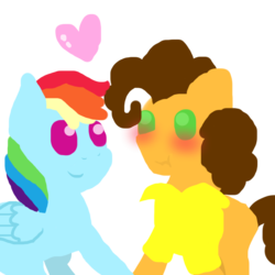 Size: 1000x1000 | Tagged: safe, artist:stockingstreams, cheese sandwich, rainbow dash, blushing, cheesedash, female, heart, holding hooves, male, minimalist, pointy ponies, scrunchy face, shipping, straight