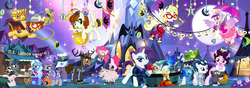 Size: 1800x637 | Tagged: amy keating rogers, ancient wonderbolts uniform, artist:pixelkitties, bat pony, bedroom eyes, book, chest, chun li, clothes, commander easy glider, costume, daring do, derpy hooves, flying, gag, ghoulia yelps, glare, g.m. berrow, granny smith, hannibal lecter, heather nuhfer, hoof hold, josh haber, m.a. larson, maud pie, monster high, muzzle, muzzle gag, natasha levinger, nightmare moon, open mouth, pig, pinkie pie, pixelkitties' brilliant autograph media artwork, ponified, pony, princess cadance, princess luna, princess peach, rarity, reading, safe, skeleton costume, skull, smiling, spread wings, super mario bros., trixie, twilight's castle, umbrella