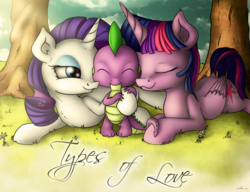 Size: 3640x2800 | Tagged: alicorn, artist:neko-me, bedroom eyes, cute, daaaaaaaaaaaw, eyes closed, fanfic art, female, fluffy, high res, hug, lucky bastard, male, mare, nuzzling, pony, prone, rarilight, rarity, safe, shipping, smiling, sparity, spike, spike gets all the mares, spikelove, straight, tree, twilight sparkle, twilight sparkle (alicorn), twisparity, twispike