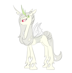 Size: 2630x2674   Tagged: safe, artist:carnifex, oc, oc only, oc:queen silverwing, changeling, changeling queen, albino, albino changeling, changeling queen oc, commission, crown, female, jewelry, previous generation, regalia, simple background, solo, transparent background, vector, white changeling