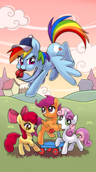 Size: 300x540 | Tagged: safe, artist:bartolomeus_, apple bloom, rainbow dash, scootaloo, sweetie belle, earth pony, pegasus, pony, unicorn, baseball cap, blank flank, blowing, bow, cap, clothes, cloud, cutie mark crusaders, female, filly, flying, grass, hair bow, hat, judgement, mare, open mouth, puffy cheeks, referee, sky, smiling, tarot card, whistle, whistle necklace