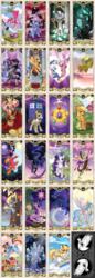 Size: 1200x3504   Tagged: safe, artist:bartolomeus_, applejack, big macintosh, derpy hooves, discord, doctor whooves, flash sentry, fluttershy, king sombra, nightmare moon, pinkie pie, princess cadance, princess celestia, princess luna, queen chrysalis, rainbow dash, rarity, shining armor, time turner, tree of harmony, trixie, twilight sparkle, zecora, oc, oc:cloudy thunder, alicorn, manticore, pony, zebra, black vine, elements of harmony, female, mane six, mare, pixiv, royal guard, sonic screwdriver, tardis, tarot card, twilight sparkle (alicorn)