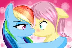 Size: 1095x730 | Tagged: safe, artist:riouku, fluttershy, rainbow dash, pony, butterdash, butterscotch, female, flutterdash, half r63 shipping, lesbian, male, mare, rule 63, shipping, straight