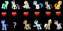Size: 1024x512 | Tagged: safe, artist:greenwarf333, blues, bon bon, carrot top, derpy hooves, dj pon-3, doctor whooves, frederic horseshoepin, golden harvest, lyra heartstrings, neon lights, noteworthy, octavia melody, rising star, sweetie drops, time turner, vinyl scratch, written script, earth pony, pegasus, pony, unicorn, bowtie, cutie mark, doctorderpy, female, fredtavia, goldenscript, hooves, horn, lyraworthy, male, mare, open mouth, question mark, shipping, shipping war in the comments, sitting, smiling, stallion, straight, sunglasses, vector, vinylights