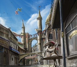 Size: 787x689 | Tagged: safe, artist:turbopower1000, pipsqueak, canterlot, city, cityscape, colt, commission, crepuscular rays, crowd, outdoors, pipsqueak eating spaghetti, scenery, scenery porn, solo focus, street