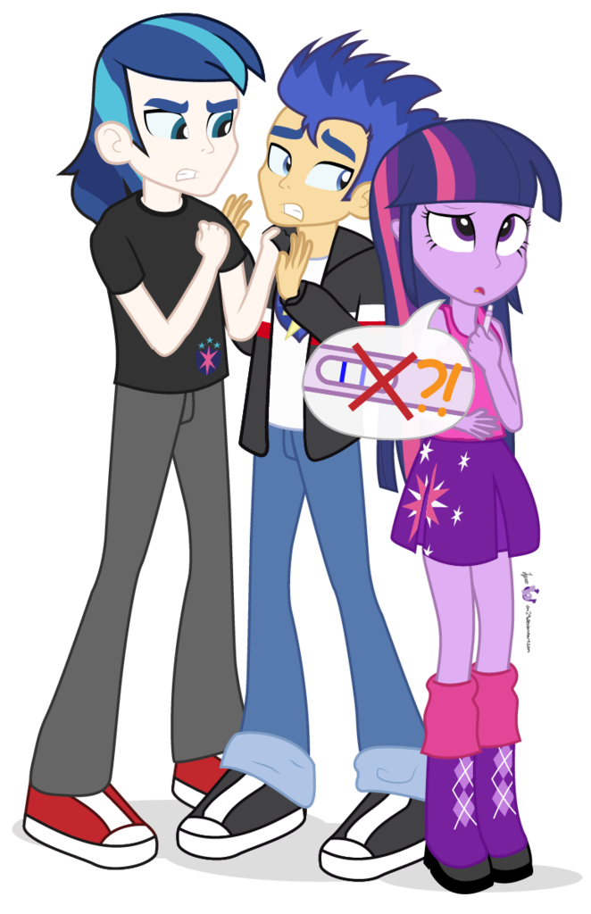 745906 Angry Artist Dm29 Confused Equestria Girls Equestria Girls Ified Flash Sentry Pregnancy Test Safe Shining Armor Simple Background Transparent Background Trio Twilight Sparkle Twilight Sparkle Alicorn Derpibooru