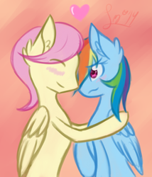 Size: 645x753 | Tagged: safe, artist:leximoon, fluttershy, rainbow dash, butterdash, butterscotch, female, half r63 shipping, heart, male, rule 63, shipping, straight