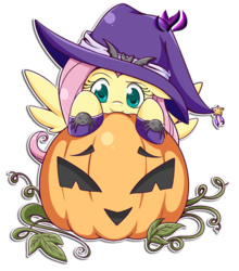 Size: 700x796 | Tagged: safe, artist:raininess, fluttershy, clothes, costume, hat, horseshoes, jack-o-lantern, pumpkin, simple background, solo, transparent background, witch hat