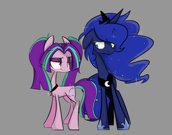 Size: 1280x1009 | Tagged: safe, artist:jankrys00, aria blaze, princess luna, ponified, simple background, stare