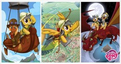 Size: 488x259 | Tagged: airship, arrow, artist needed, bow (weapon), brumby cloverpatch, daring do, daring do adventure collection, daring do and the eternal flower, daring do and the forbidden city of clouds, daring do and the marked thief of marapore, dragon, gallant true, g.m. berrow, knuckerbocker, male, official, pony, quiver, safe, stallion, sword
