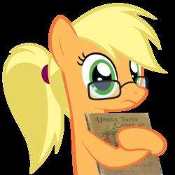 Size: 976x975 | Tagged: safe, artist:muddyfudger, artist:zacatron94, applejack, earth pony, pony, adorkable, cute, dork, egghead, female, joke, mare, nerd pony, parody, solo, uncle tom's cabin