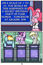 Size: 2000x3000 | Tagged: safe, artist:doggonepony, derpy hooves, pinkie pie, rainbow dash, twilight sparkle, pegasus, pony, balloon, birthday, comic, female, final jeopardy, game show, glasses, hat, jeopardy, mare, party hat