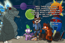 Size: 1280x849   Tagged: safe, artist:darkwolf80s, artist:secoh2000, spike, beaver, kaiju, crossover, godzilla, godzilla (series), guardians of the galaxy, nachos, rocket raccoon