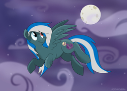 Size: 800x577 | Tagged: safe, artist:spainfischer, oc, oc only, pegasus, pony, flying, full moon, heterochromia, moon, night, solo