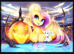 Size: 3858x2802 | Tagged: safe, artist:koveliana, angel bunny, fluttershy, bat pony, pony, beautiful, chromatic aberration, color porn, fangs, featured image, flutterbat, grin, high res, jack-o-lantern, lipstick, looking at you, nightmare night, photoshop, prone, pumpkin, smiling, spread wings, water