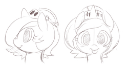 Size: 850x447 | Tagged: safe, artist:ende26, princess luna, :p, armor, cute, female, filly, helmet, monochrome, portrait, sketch, solo, tongue out, wip, woona, woona knight