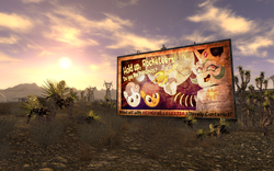 Size: 900x563 | Tagged: safe, artist:pixelkitties, princess celestia, scootaloo, sweetie belle, robot, billboard, fallout, fallout: new vegas