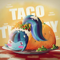 Size: 2000x2000   Tagged: safe, artist:ruhisu, sonata dusk, equestria girls, :3, blushing, chibi, cute, female, lettuce, literal sonataco, pepper, plate, ponytail, smiling, solo, sonatabetes, sonataco, sonyata dusk, taco, taco tuesday