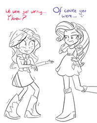 Size: 650x820 | Tagged: safe, artist:spacekingofspace, rarity, sunset shimmer, equestria girls, dialogue, implying, innuendo, not dirty, sweat