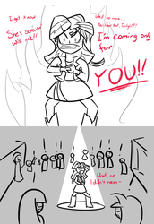 Size: 550x800 | Tagged: safe, artist:spacekingofspace, sunset shimmer, equestria girls, battle aura, crowd, dialogue, implying, not dirty
