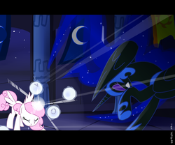 Size: 3000x2500 | Tagged: safe, artist:dotrook, nightmare moon, princess celestia, alicorn, pony, crescent moon, ethereal mane, eyes closed, glowing horn, hoof shoes, magic, moon, pink-mane celestia, raised hoof, starry mane