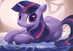 Size: 2000x1386 | Tagged: safe, artist:bluedrg19, twilight sparkle, pony, unicorn, bed, both cutie marks, cute, female, flank, hips, looking at you, lying down, mane, mare, on side, plot, raised tail, smiling, solo, tail, the ass was fat, twiabetes, twibutt