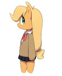 Size: 574x699 | Tagged: safe, artist:30clock, applejack, pony, bipedal, clothes, female, school uniform, solo
