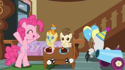 Size: 1680x945 | Tagged: safe, artist:dragonpony, pinkie pie, pound cake, pumpkin cake, cake, cake twins, party, party cannon, portal 2, turret