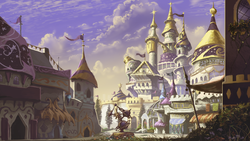 Size: 1024x576 | Tagged: safe, artist:huussii, architecture, background, beautiful, canterlot, city, equestrian civil war, fanfic, fanfic art, no pony, scenery, scenery porn, shattered kingdom, wallpaper, walls