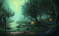 Size: 1280x800 | Tagged: artist:huussii, bird, bridge, everfree forest, flower, forest, lamppost, mist, no pony, outdoors, path, pathway, poison joke, river, road, safe, scenery, scenery porn, shattered kingdom, spooky, stream, tree
