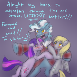 Size: 500x500 | Tagged: safe, artist:jitterbugjive, derpy hooves, doctor whooves, time turner, twilight sparkle, pegasus, pony, askdiscordwhooves, doctor whooves gets all the mares, doctorderpy, doctwi, female, harem, harem ending, male, mare, shipping, straight, third doctor