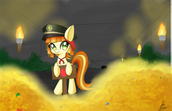 Size: 5950x3850 | Tagged: safe, artist:kawaiipony2, tag-a-long, filly, filly guides, hat, hoard, ribbon, solo, thin mint