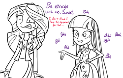 Size: 1100x700 | Tagged: safe, artist:spacekingofspace, sunset shimmer, twilight sparkle, equestria girls, dialogue, implying, not dirty, shipping, twilight sparkle (alicorn)