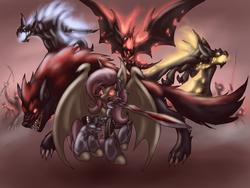 Size: 1024x768   Tagged: safe, artist:cyrilunicorn, fluttershy, bat, vampire, wolf, armor, badass, blade, crossover, flutterbadass, flutterbat, ponified, sacred, sacred: underworld, sword, video game, weapon