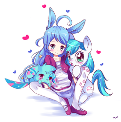 Size: 900x909   Tagged: safe, artist:ipun, oc, oc only, human, pony, animal, blushing, bunny ears, clothes, cute, dress, freckles, heart, heart eyes, looking at you, mary janes, non-mlp oc, open mouth, simple background, sitting, skirt, smiling, socks, stockings, thigh highs, white background, wingding eyes