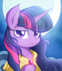 Size: 1400x1600 | Tagged: safe, artist:kyodashiro, twilight sparkle, alicorn, pony, bedroom eyes, cape, clothes, female, frown, lens flare, looking at you, mare, moon, night, portrait, solo, twilight sparkle (alicorn), windswept mane